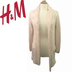 H&M Knit sweater cardigan open front Pink Small